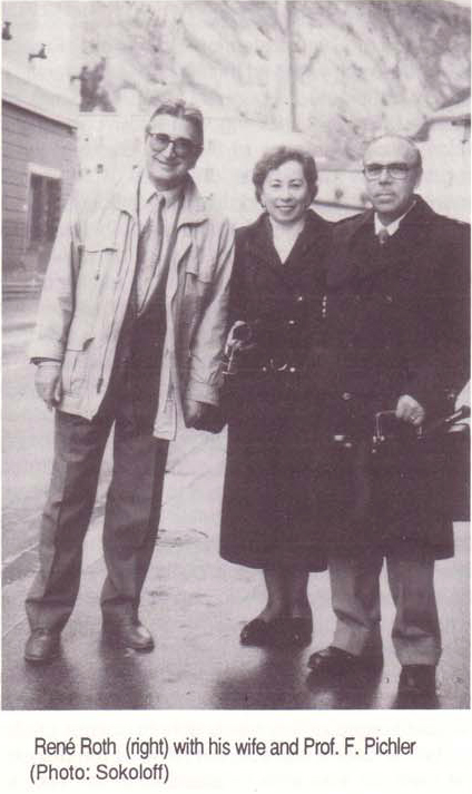Rene Roth, his wife and Prof. Frank Pichler, Foto Stephen Sokoloff, IFSR Newsletter 1994 Vol. 13 No. 1  (32) March