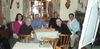 From left: Barbara Rivera, Doug Walton, Gordon Roland, Urban Kordes, Christian Fuchs, Yoshihide Horiuchi, Fuschl Conversation 2006, IFSR Newsletter 2006 Vol. 24 No. 1 November