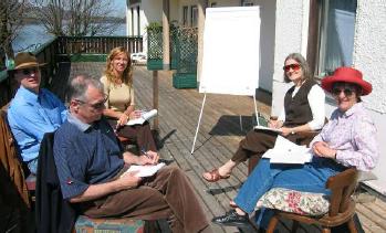 (From left) Wolfgang Hofkichner, Matjaz Mulej, Maria Mercedes Clusella Cornejo, Debora Hammond, Gabriele Bammer, Fuschl Conversation 2006, IFSR Newsletter 2006 Vol. 24 No. 1 November