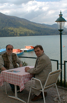 IFSR Fuschl Conversation 2004: On the terrace of Seehotel Schlick  (Alan Combs and Soeren  Brier)