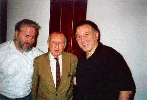 Heinz von Förster, Peter Weibel (r.), Werner -Jimmy DePauli- Schimanovich (l.), November 1996