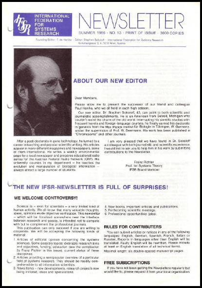 Stephen Sokoloff becomes the New Editor, and the Newsletter gets a face-lift (1986), IFSR Newsletter 2006 Vol. 24 No. 1 November