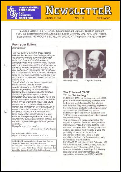 Gerhard Chroust joins Stephen Sokoloff as co-editor (1993), IFSR Newsletter 2006 Vol. 24 No. 1 November