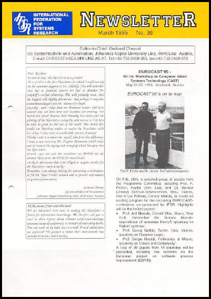 Gerhard Chroust becomes the sole Editor of the Newsletter (1995), IFSR Newsletter 2006 Vol. 24 No. 1 November