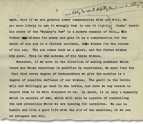 "Norbert Wiener (1894-1964) ""The Machine Age"", 1949, essay portion. MIT Institute Archives and Special Collections"