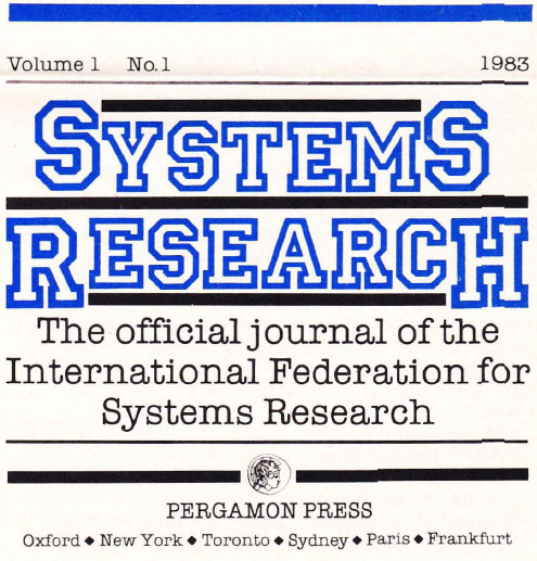 Systems Research: The official journal of the IFSR, Vol. 1 No. 1 1983, IFSR Newsletter 1983 Vol. 3 No. 2 Autumn