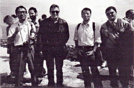 EUROCAST on the Rocks, From left to right: Prof. Sato, Japan, Prof. Franz Pichler, Austria, Prof. Takahara, Japan, Prof. Candela-Sola, Spain., 1995, IFSR Newsletter 1995 Vol 14 No 2 (37) July
