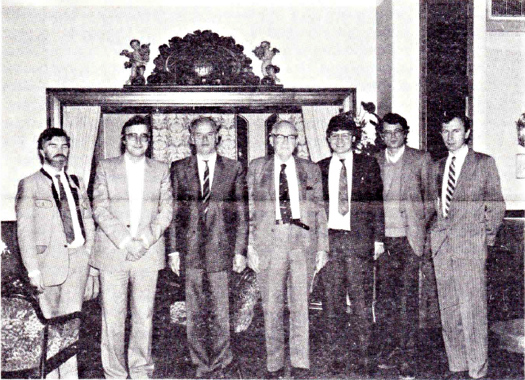 In the picture from Reader's left to right: R. Born (with necktie - Inst. of Theory of Science, Johannes Kepler Univ. Linz), F. Pichler (Inst. of Systems Theory, Johannes Kepler Univ. Linz), J. Gotschl (Inst. of Philosophy, Karl Franzens Univ. Graz and Ludwig Boltzmann Institute for the Study of Science, Graz), HA Simon (Carnegie-Mellon Univ., Pittsburgh, USA), W. Schinagl (Ludwig Boltzmann Institute for the Study of Science, Graz), G. Schulter (Inst. of Psychology, Karl Franzens Univ. Graz) and F. Ohler (Ludwig Boltzmann Institute, for the Study of Science, Graz), IFSR Newsletter 1988 No 4 October/November